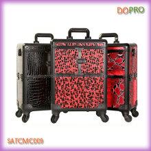 Large espace de rangement chariot à manches de maquillage de voyage en aluminium (SATCMC009)
