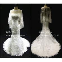 Dignified three quarter sabrina wedding dress with applique lace BYB-14586