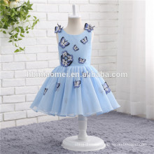 The first communion dresses sleeveless blue color butterfly decoration Flower Girl Dress