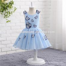 A primeira comunhão vestidos sem mangas cor azul borboleta decoração Flower Girl Dress