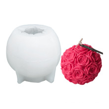 Cake Tool Home Decoration 3D Big Flower Rose Ball Soap Mould DIY Silicone Rose Candle Mold