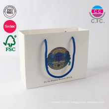 New style custom paper white shopping paper bag with blue handle