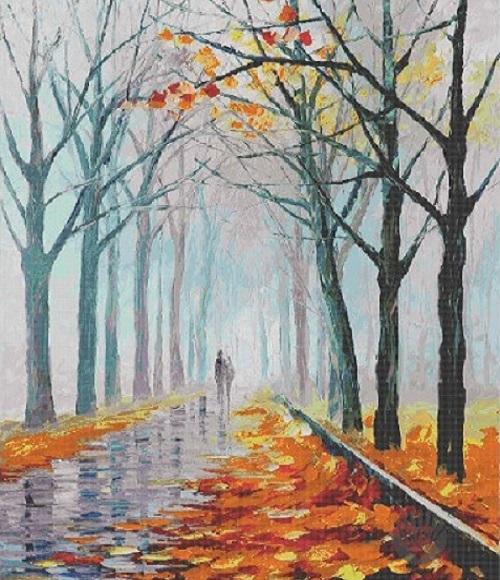 Autumn trees landscape glass mosaic mural