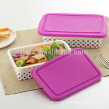 2014 hot new products ceramic microwave food container with silicone lid