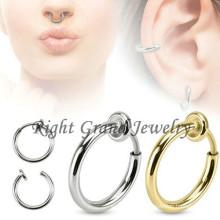 Inox 316L chirurgical acier Non Piercing nez anneau Septum bijoux Piercing