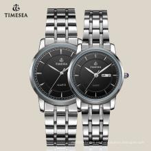 Reloj de diseño más nuevo para pareja con banda de acero inoxidable 70008