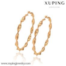 90436-Xuping ventas calientes 18K pendientes de aro de oro de la joyería de latón con alta calidad