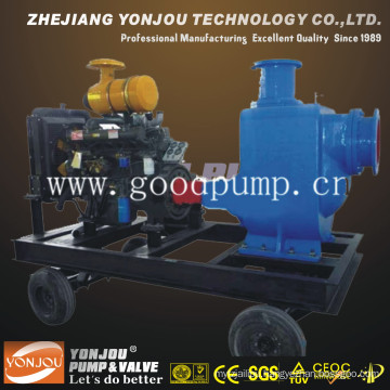 Pump Diesel Engine with Trailer/Diesel Self-Priming Non-Clogging Sewage Pump Set/Hose Pump/Water Pump Set