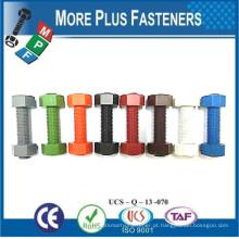 Fabricado em parafusos de aço inoxidável coloridos em aço inoxidável com duas porcas hexagonais para tubulações de pressão e temperatura