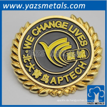 benutzerdefinierte Metall Gold / Silber Beschichtung Abzeichen, mit Design