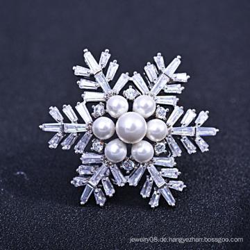 Mütter Tag Brosche Geschenk, neue trendige Zirkon und Süßwasser Perle Schneeflocke Brosche
