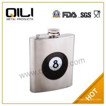 7oz stainless steel matt finish mini bottles of alcohol with silk screen logo