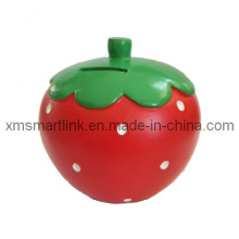 Strawberry Shape Coin Box, Resin Strawberry Coin Box,