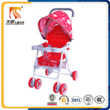 Lightweight Plastic Seat Red Baby Stroller with 6 EVA Wheels