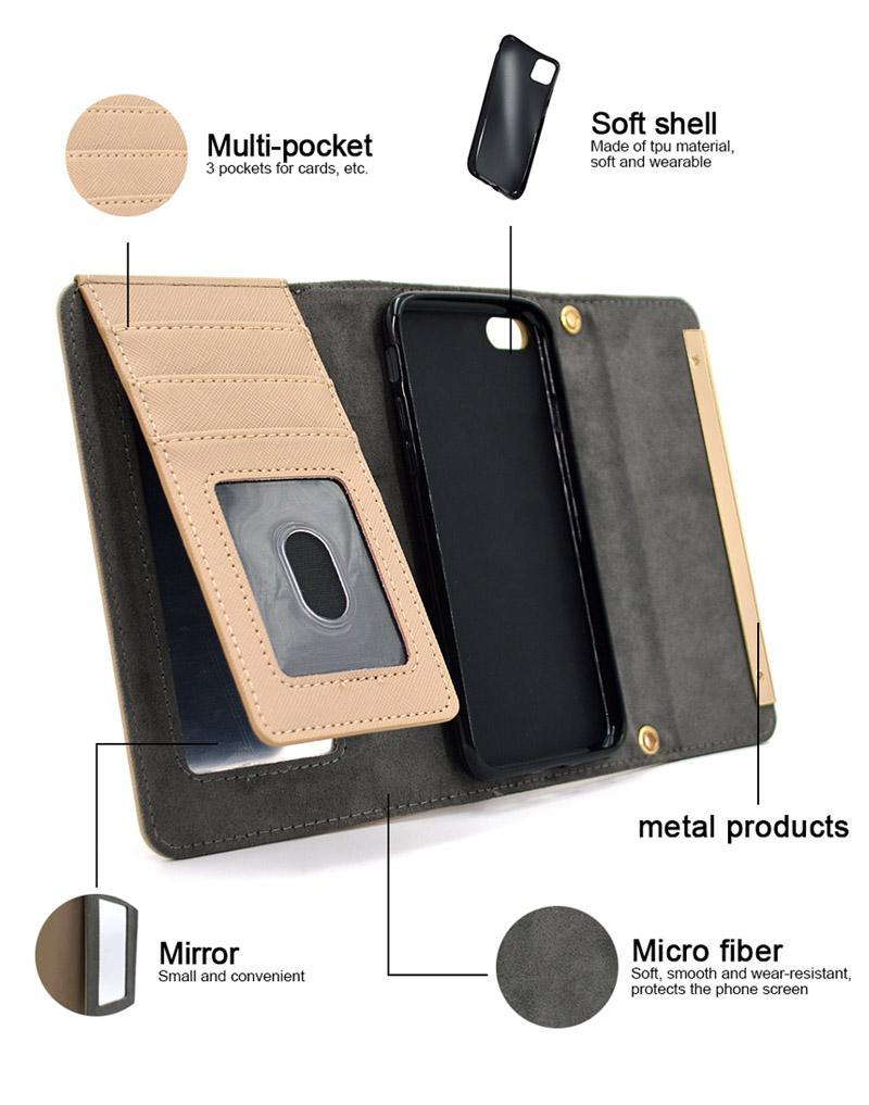 Flip Wallet Stand Phone Holder Leather Cover Case