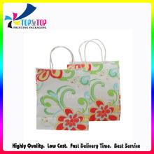 Flower Printing Handle Kraft Paper Bag