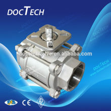 4 inch /100mm Stainless Steel Triplet Ball Valve With High Mounting Pad Female Thread Connection