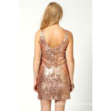 Women Midi Evening Dresses  / Gold Sequins Back Scoop Mini Dress