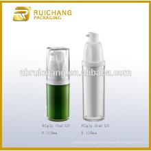 Bouteille en plastique sans air de 15 ml / 30 ml, bouteille sans cosmétiques à double tube rond, bouteille sans air crème sans air