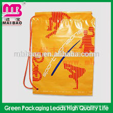 Company logo printed wholesale plastic drawstring bag with eyelets for sports