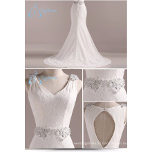 Mermaid Crystal Pearls Beading Lace Satin White Dress Wedding