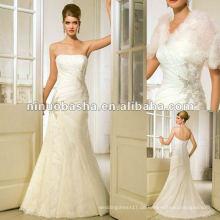 Gerade Ausschnitt, entbeintes und gepasstes Mieder-Hochzeitskleid