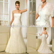 Straight Neckline,Boned and Fitted Bodice Wedding Dress