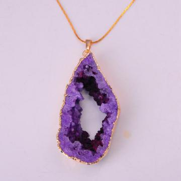 Natural Crystal Cave Pendant Jewelry Necklace