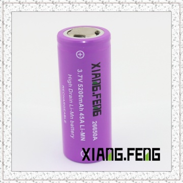 3.7V Xiangfeng 26650 5200mAh 45A Imr Rechargeable Lithium Battery 26650 Battery