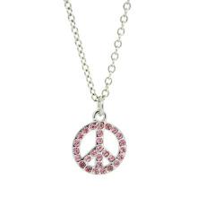 Benutzerdefinierte Legierung Schmuck Silber Rinestone Friedenssymbol Anhänger Halskette