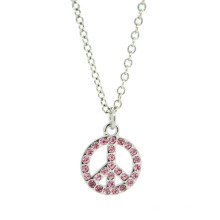 Joyería de aleación personalizada Collar con colgante de símbolo de paz de Rinestone de plata