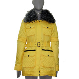 100% Polyester Womens Winter Coat with Detached Fake Fur Collar