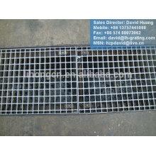 Tampa de trincheira galvanizada, grade de aço de drenagem galvanizada, passagem de grade de aço galvanizado