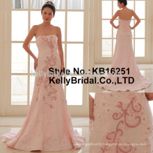 Chic embroidered styles with beading pink Strapless sleeveless wedding dress