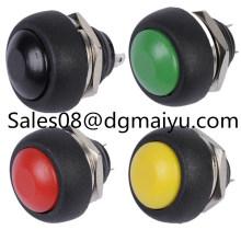 Interruptor de botón pequeño Interruptor de botón de reinicio a prueba de agua 12 mm