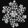 Popular Jewelry Romantic flower Rhinestones Happiness bridal Brooch wholesale Silver plated full crystal brooch