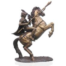 hochwertige Bronze Soldat und Pferd Statue