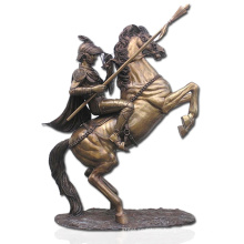 high quality bronze soldier and horse statue