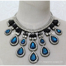 Lady Fashion Costume Jewelry Waterdrop Glass Crystal Pendant Necklace (JE0206)