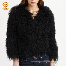 Factory Direct Supply Black Knitted Tibetan Girls Real Fur Coat For Women