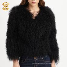Прямая поставка фабрики Черные вязаные тибетские девушки Реальное шерстяное пальто для женщин