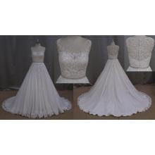 A-Line vestido de novia con cuentas de encaje rebordear el marco