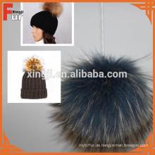 Luxus Echtpelz Big Pompom für Cap