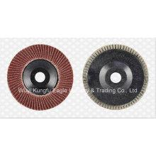 4,5 '' Aluminiumoxid-Flap Abrasive Scheiben (Kunststoffabdeckung 24 * 15mm 40 #)