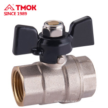 Butterfly handle internal thread Nickel plating brass ball valve