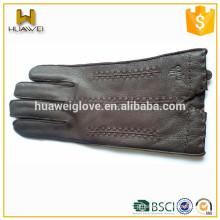 Alta Qualidade 100% Genuine Deerskin Luvas Inverno Engraxadas de couro