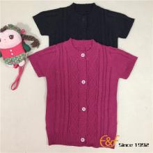 लड़की छोटी आस्तीन केबल कार्डिगन स्वेटर