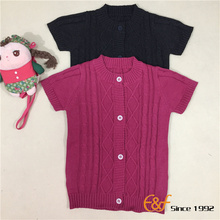 Girl Short Sleeves Cable Cardigan Sweater
