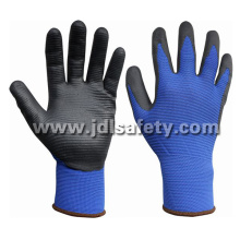 Blue Nylon Special Structured Knitted Working Gloves, Coated with Black Smooth Nitrile on Palm (N1575)