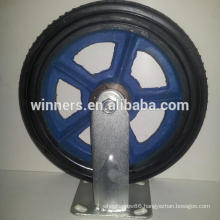 "8"" 10"" metal cast iron rubber wheel caster"